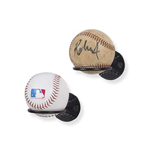 Wallniture Sporta Baseball Bat and Baseball Display Memorabilia Holder Wall Mount Ball Rack for Collectibles Steel Black Set of 2