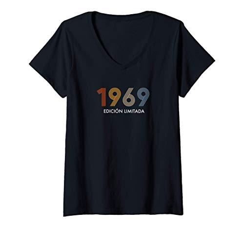 Mujer Retro 51 Años Nacido en 1969 Edición Limitada 51 Cumpleaños Camiseta Cuello V