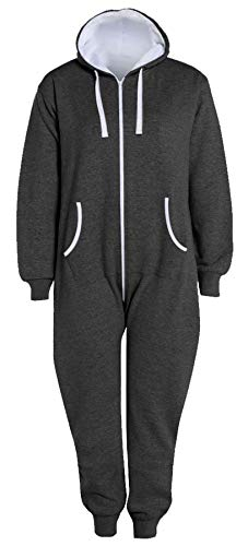 Islander Fashions Erwachsene Zip Up Onsie1 Kapuzen-Overall Unisex Thermal All In One Sport-Overall Charcoal 5X Large