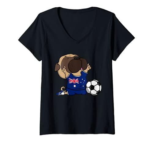 Mujer Pug Australia Fútbol Fans Jersey Australian Football Amantes Camiseta Cuello V