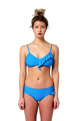 Juicy Couture Two Piece Swimsuit Set Bikini with Asymmetrical Ruffle and Bottom with Ruffle Leg Opening (Blue Solid, Large)
