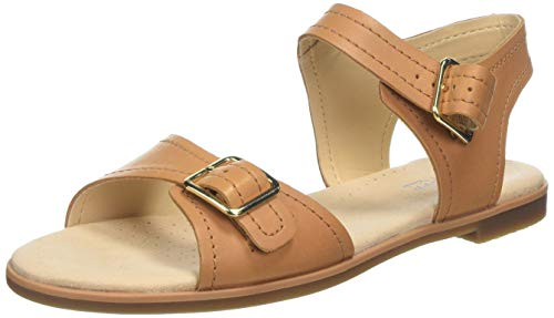 Clarks bay Primrose, Sandali con Cinturino alla Caviglia Donna, Marrone (Light Tan Leather -), 39 EU