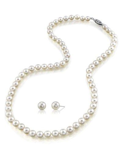 6.5–7.0mm bianco perla collana e orecchini abbinati, lunghezza 45,7cm Princess–Qualità AA +