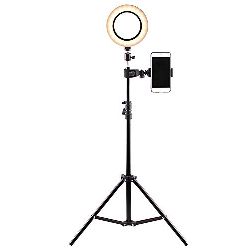 Acutty Ring Light with Stand Phone Holder, 16cm LED Ring Light Lamp Selfie Camera Phone Studio Stand Video Dimmable Ring Light for Video Livestream Makeup Video Photography