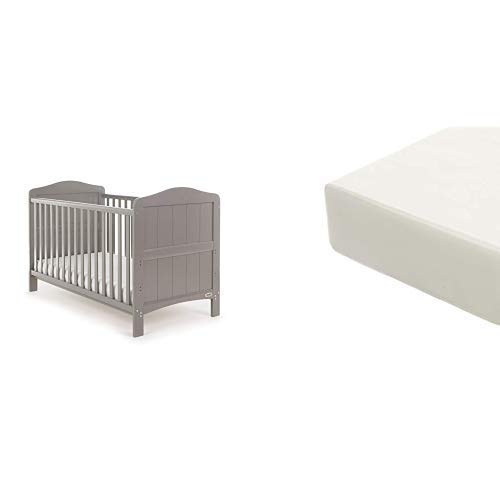 Obaby Whitby Cot Bed and Eco Foam Mattress - Taupe Grey
