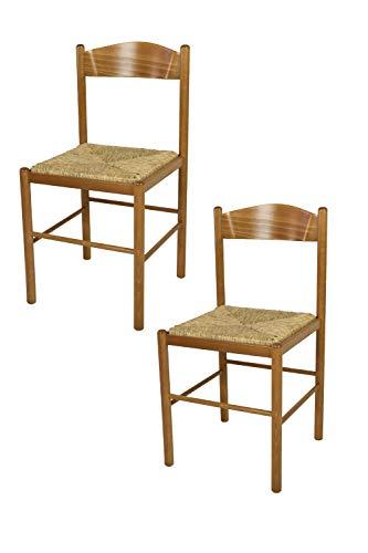 t m c s Tommychairs - Set 2 sedie Classiche Pisa 38 per Cucina, Bar e Sala da Pranzo, con Robusta Struttura in Legno di faggio Verniciato Color Rovere e Seduta in Paglia Vera