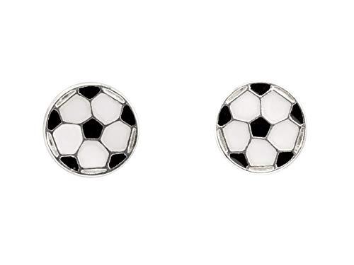 Sterling Silver 925 Football Soccer Enamel Stud Earrings Euros Boys and Girls