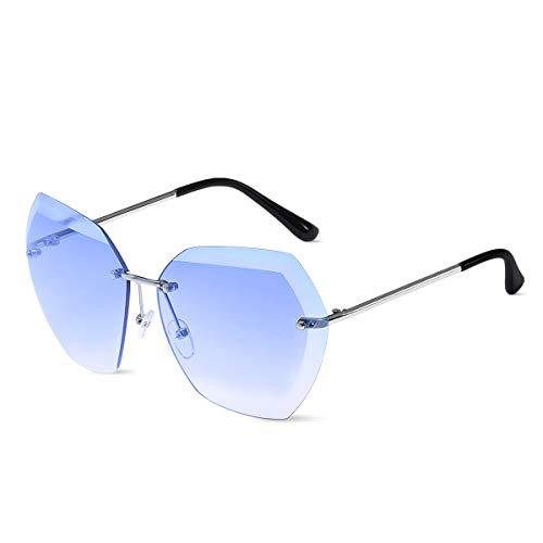 LumiSyne Gafas De Sol Sin Montura Mujer De Gran Tamaño Anteojos Gradiente Transparente Lentes De Corte De Diamante Marco De Metal UV400 Con Funda De Gafas
