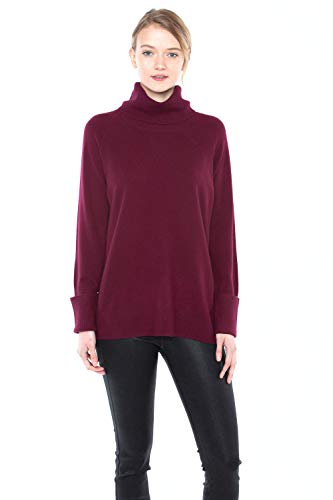 JENNIE LIU Women's 100% Pure Cashmere Cowl-Neck Raglan Tunic High-Low Sweater(L, Burgundy)