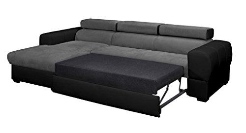 Relaxima Trésor Canapé d'Angle Convertible Gauche avec Coffre Têtière Amovible Bois Noir/Gris 266 x 160 x 90 cm
