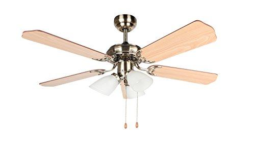Orbegozo CT - Ventilatore da soffitto con Luce, 5 Pale reversibili, Diametro 105 cm, Potenza 55 W, 3 velocità
