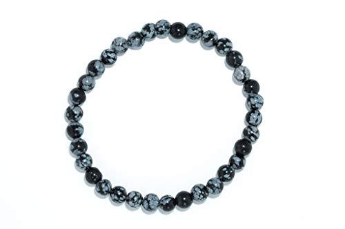 Taddart Minerals – Pulsera negra de piedra natural obsidiana copo de nieve con bolas de 6 mm...