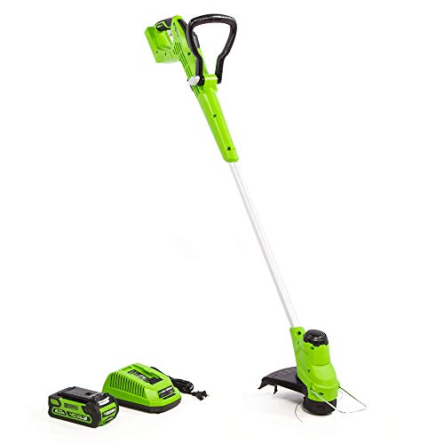 Greenworks Tools Cortacésped eléctrico G40T5 con batería y cargador, funciona con 40 V, 2 Ah, ion de litio, 30 cm de ancho de corte, máx. 7000 rpm, cabezal de motor giratorio e inclinable