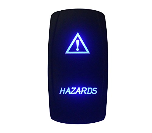 BANDC 12V/24V peligros Rocker Interruptor grabados con láser LED azul 5pines SPST ON-OFF para coche de grado marino barco Rv resistente al agua IP66