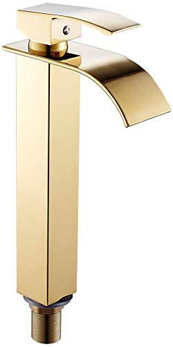 Lavabo grifo cascada grifo de lavabo moderno baño de cromo grifo caliente y fría,Gold