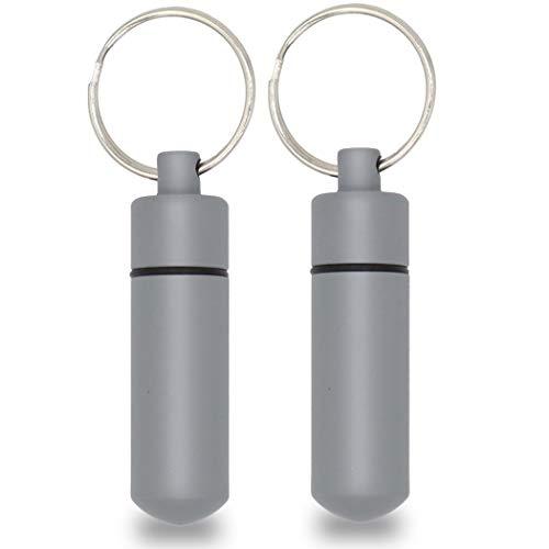 Aribari 2 x Schlüsselanhänger. Mini Pillendose aus Aluminium. wasserdichte Aufbewahrungsbox. Alu Pillenbox für Camping und Outdoor. Länge 5,2 cm ø 1,4 cm. Farbe: NATO-grau.