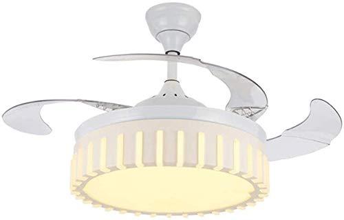 Techo del LED luz del ventilador 4 cuchilla reversible retráctil ...