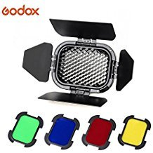 Godox BD-07 Barn Door with Detachable Honeycomb Grid and 4 Color Filters for Godox AD200 AD200Pro Speedlite Fresnel Flash Head