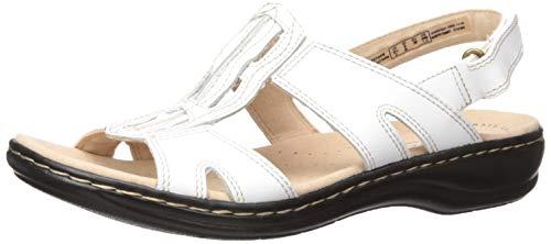 Clarks Women's Leisa Skip Sandal, White Leather, 6.5