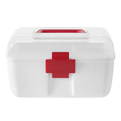 MyGift First Aid Clear Top Case w/Removable Tray & Handle, Family Emergency Kit Storage Organizer