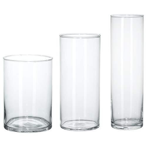 Ikea 601.750.92 - Set di 3 vasi in vetro trasparente