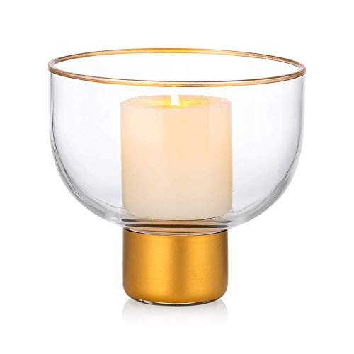 YVX Decorative Glass Vase Pillar Candle Holder, Glass Candle Lantern, 2 Uses Round Creative Flower Vase for Home Decor, Centerpieces for Wedding Home Kitchen