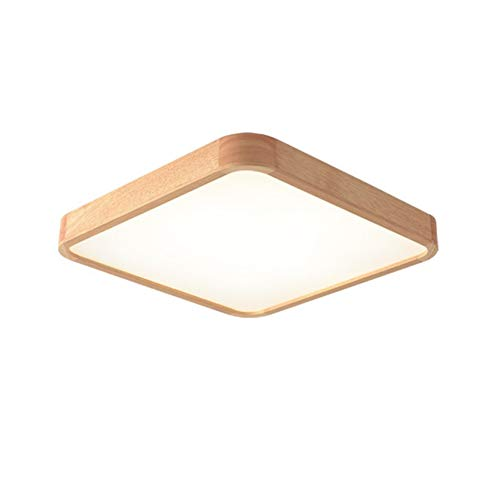 Vindeng Cuadrado Minimalismo LED Lámpara de techo, 18W De madera Plafón Ultra delgado Acrílico Nórdico Para Dormitorio Comedor Sala de estar-30CM Blanco Cálido