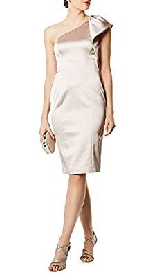 Karen Millen Satin One Shoulder Cocktail Dress Champagne Size 12