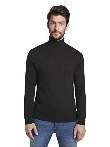 TOM TAILOR für Männer Pullover & Strickjacken Rollkragenpullover in Melange-Optik Black, XL