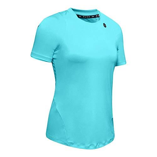 Under Armour Camiseta de Manga Corta UA Rush Camisa, Mujer, Blue, SM