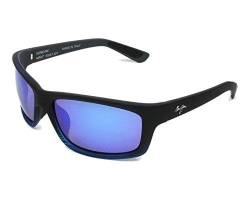 Maui Jim Kanaio Costa gafas de sol w / MJ766-08C polarizada Blue Hawaii lente hombre Mate azul translúcido Negro Grande