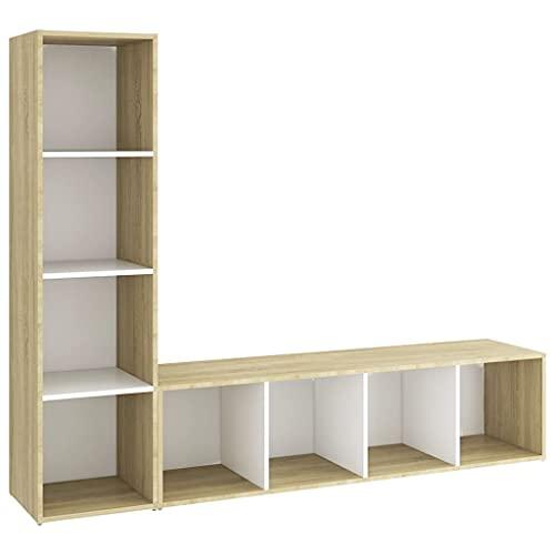 vidaXL 2X Muebles TV Soporte Mobiliario Aparador Estante Salón Sala de Estar Dormitorio Decoración Aglomerado Blanco Roble Sonoma 142,5x35x36,5cm