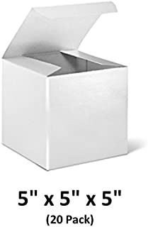 White Cardboard Paper Gift Boxes with Lids, 5x5x5 (20 Pack) for Gifts, Crafting & Cupcakes | MagicWater Supply