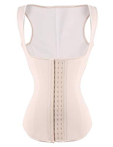 FeelinGirl Látex Chaleco Underbust Corsé Deportivo Entrenamiento de Cintura para Mujer Beige XL Talla 38-40