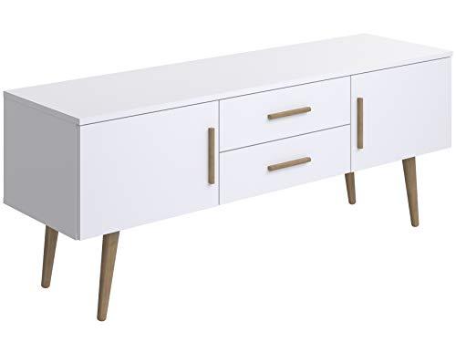 Marca Amazon -Movian Adour Scandinavian - Mueble para TV de 2 puertas con 2 cajones, 40 x 140 x 56 cm (blanco)