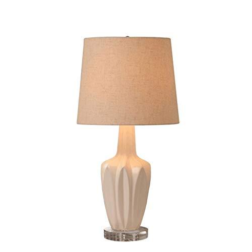 NXYJD Lámpara de mesa de la tela de la tela de la base blanca de la cerámica del diseño moderno, lámparas del escritorio de la mesita de noche para el dormitorio, sala de estar, sitio de la oficina, o