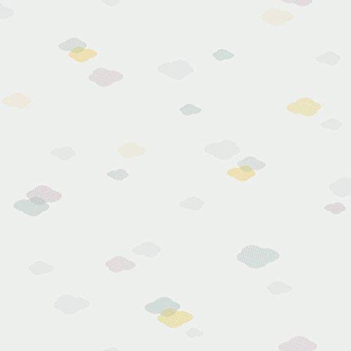 Casadeco 18956115 Papel pintado infantil con nubes color hueso, pistacho y turquesa