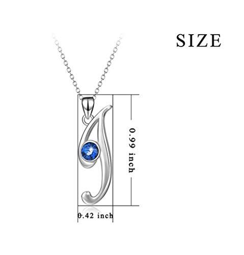L&H 925 Sterling Silber Zirkonia Buchstabe J Schlüsselbein Kette 26 Brief Anhänger Halskette Personalisierte Schmuck Geschenk, 18