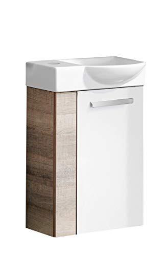 FACKELMANN A-VERO Gäste WC Set rechts 2 Teile/Keramik Waschbecken/Waschbeckenunterschrank mit 1 Tür/Soft-Close/Türanschlag rechts/Korpus und Blende: Braun hell/Front: Weiß/Breite: 45 cm