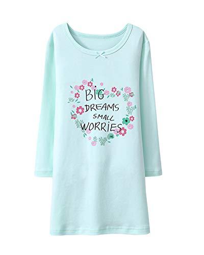 DianShaoA Drucken Nachthemd Mädchen Prinzessin Langärmelig Rundkragen Kinder Einfach Schlafanzüge Grün 100
