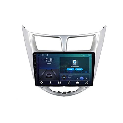 GOHHK Android 10 Radio De Automóvil para Hyundai Solaris 2010-2016 GPS Stereo AUTOMO Player Carplay Estéreo OBD Bluetooth DSP Trasero 9'(Size:Ocho núcleos,Color:WiFi:4GB+64GB)