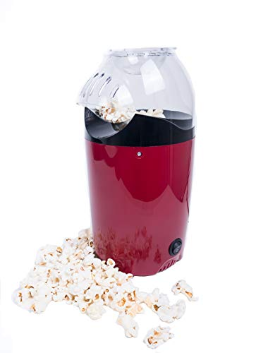 Easypop Porcornmaschine Popcornmaker Für Zuhause, Popcornautomat Mit 1200 W, Popcorn in 2-4 Minuten, Heiÿluftbetrieb - Betrieb Ohne Fett / ÖL, Dadurch Kalorienarm, Rot