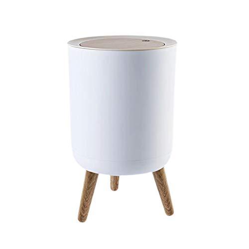 Cubo de Basura Presione la basura de la tapa de la papelera pequeña de madera de la basura de la basura del baño del cuarto de baño de la oficina de cuarto de baño. Cesta de papel redondo lindo con ta