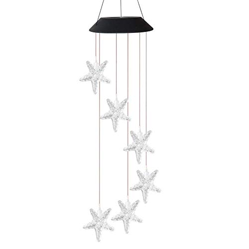 AJH Solaire lumière LED Couleur Changeante étoiles de mer Carillon de Vent Suspendu étanche extérieur décoratif Romantique Vent Cloche lumière pour Patio