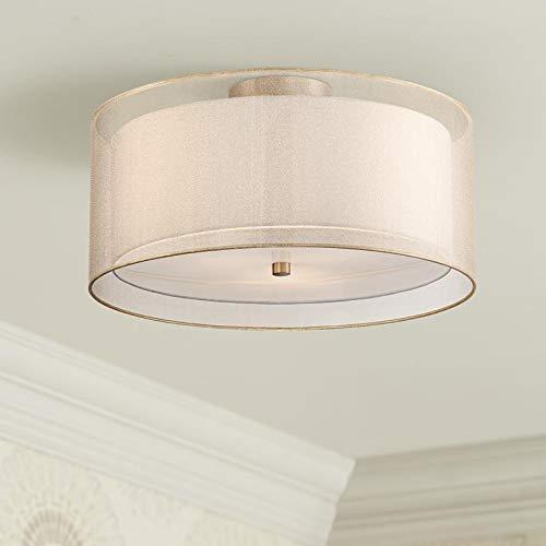 Saint Mossi Plafondlamp, gouden plafondlamp, dubbele laag, moderne kroonluchter, plafondverlichting voor woonkamer, hal, slaapkamer, keuken