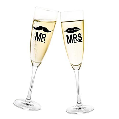 Aufkleber Hochzeit Mr. & Mrs. mit Bart und Mund für Sektglas Glasaufkleber Gläser Größe 2 Stück