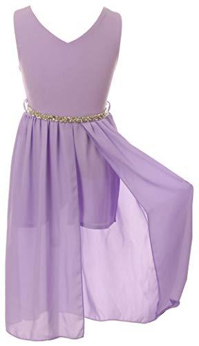 Big Girls Sleeveless V Neck Rhinestones Chiffon Short Pant Romper Jumpsuit Lilac 8 (2J1K69S)