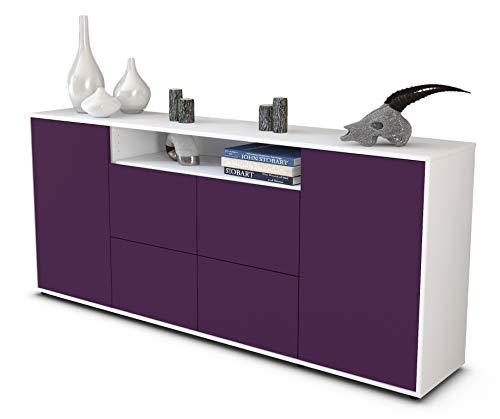 Stil.Zeit Sideboard Ephenia/Korpus Weiss matt/Front Aubergine (180x79x35cm) Push-to-Open Technik