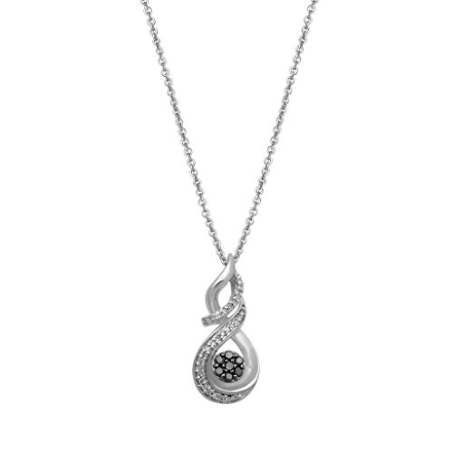Jewelili Sterling silver 1/5 CTTW Round Black and White Diamond Swirl Twist Cluster Pendant Necklace, 18â Rolo Chain