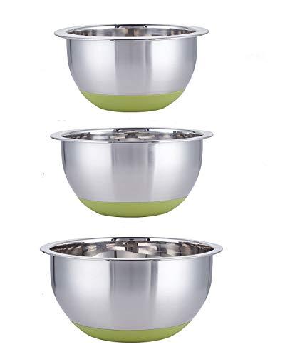 Set di 3 Ciotole Acciaio Inox Cucina, Base in Verde Silicone Antiscivolo e Misure Graduate, Insalatiera Acciaio Ciotole di Miscelazione 1.5L, 2.5L, 4.5L